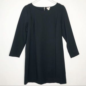 J Crew Factory Solid Black Ponte Dress Long Sleeve